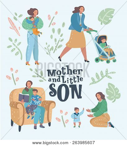 Set of mother with her son in different poses and situations. Motherhood concept. Mom playing and walking with her baby boy. Mama reading book to her child. Vector cartoon illustration poster