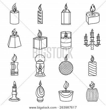 Candle Forms Icons Set Flame Light. Outline Illustration Of 16 Candle Forms Flame Light Icons For We