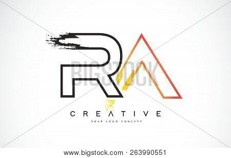 Ra R A  Creative Modern Logo Design Vetor With Orange And Black Colors. Monogram Stroke Letter Desig