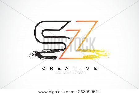 Sz Creative Modern Logo Design Vetor With Orange And Black Colors. Monogram Stroke Letter Design.