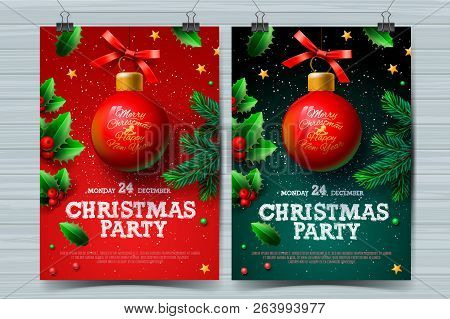 Christmas Party Design Templates, Posters With Ball And Christmas Decoration, Vector Illustration.