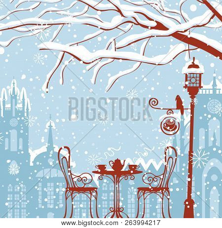 Vector Winter Cityscape With Snow-covered Branches Of Tree And Open-air Cafe With Lamppost And Crow