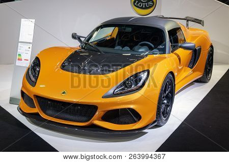 Paris - Oct 2, 2018: Lotus Exige Sport 410 Sports Car Showcased At The Paris Motor Show.