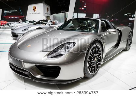 Paris - Oct 2, 2018: Porsche 918 Spyder Sports Car Showcased At The Paris Motor Show.