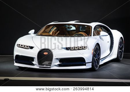 Paris - Oct 2, 2018: Bugatti Chiron 8.0 W16 Dsg Sequential Sports Car Showcased At The Paris Motor S
