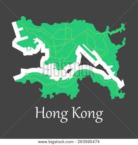 Flat Icon In Form Of Hongkong Cartography