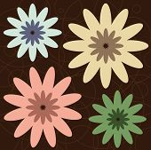 Graphic illustration of retro colored flowers against a brown background. poster