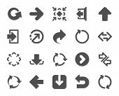 Arrows icons. Set of Download or Share, Synchronize and Recycle signs. Undo, Refresh arrows and Login symbols. Sign out, Next and Upload. Universal share Arrow elements. Quality design element poster