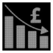 Halftone pixel pound recession bar chart icon. White pictogram with pixel geometric structure on a black background. Vector pound recession bar chart icon created of circle elements. poster