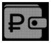 Halftone pixelated rouble purse icon. White pictogram with pixelated geometric structure on a black background. Vector rouble purse icon done of circle pixels. poster