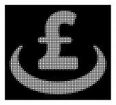 Halftone pixelated pound deposit placement icon. White pictogram with pixelated geometric pattern on a black background. Vector pound deposit placement icon done of circle blots. poster