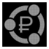 Halftone dotted rouble collaboration icon. White pictogram with dotted geometric structure on a black background. Vector rouble collaboration icon created of round blots. poster