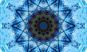 Bright blue mandala Art with a repetitive star-shaped pattern and a dark core. poster