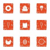 Sugariness icons set. Grunge set of 9 sugariness vector icons for web isolated on white background poster
