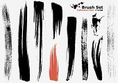 Vector outline traces of customizable organic paint brushes (strokes) in different shapes and styles highly detailed. Grouped individually easily editable. Collection set number 2. poster