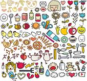 Mix of doodle images in vector: faces, birds, flowers, animals. poster