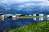 ST. Petersburg, Russia on 16 September 2018: a General view of the Waterfront of the rowing canal, bridge, Rowing Sports club yawara-Neva poster