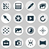 Photo icons set with slideshow, shutter, timelapse and other reload elements. Isolated  illustration photo icons. poster