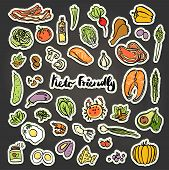 Keto-Friendly food vector stickers, sketch illustration. Healthy keto food - fats, proteins and carbs on one vector illustration. Low carbs ketogenic diet food isolated on white background. Cartoon sketch keto food, icon set with getogenic stickers poster