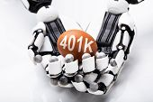 Close-up Of Robot Holding 401k Brown Egg On White Background poster