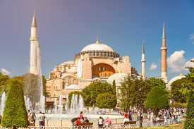 Istanbul, Turkey - July 5, 2014: Hagia Sophia (holy Wisdom) Ottoman Imperial Mosque And Now A Museum