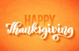 Happy Thanksgiving Day Poster With Hand Drawn Lettering. Vector.