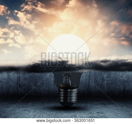 Half Light Bulb Under Cloud And Other Half Outside And Illuminated . Positive Mindeset And Success C