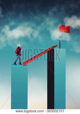 Young Man Walk On A Ladder To A Red Flag . Ladder Between Two Cubes. Overcoming Obstacles Concept .