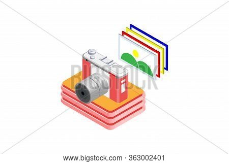 Digital Photo Camera 3d Isometric, Suitable For Diagrams, Infographics, Book Illustration, Game Asse