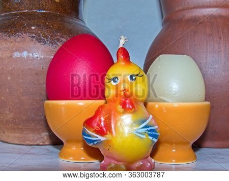 Little Yellow Chick And Easter Eggs.  Colorful Easter Eggs - Part Of The Passover Meal. Easter (brig
