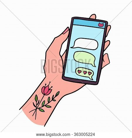 Vector Illustration In Hand Drawn Style With Chat On Phone Screen With Copyspace For Texting, Chatti
