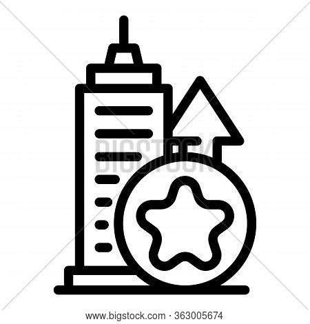 Tall Building And Star Icon. Outline Tall Building And Star Vector Icon For Web Design Isolated On W