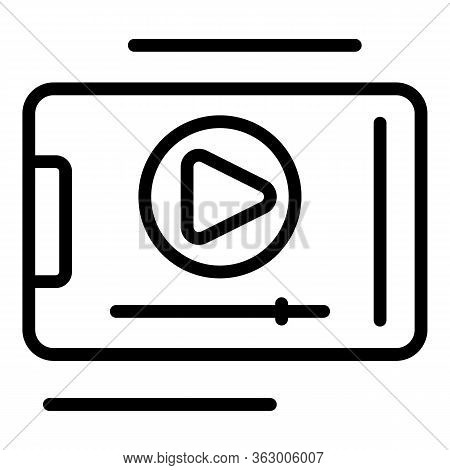 Video Clip On Smartphone Icon. Outline Video Clip On Smartphone Vector Icon For Web Design Isolated