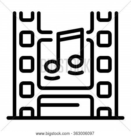 Film Strip And Musical Note Icon. Outline Film Strip And Musical Note Vector Icon For Web Design Iso