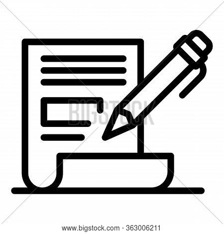 Pencil And Paper Icon. Outline Pencil And Paper Vector Icon For Web Design Isolated On White Backgro