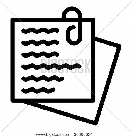 Paper Clip Notes Icon. Outline Paper Clip Notes Vector Icon For Web Design Isolated On White Backgro