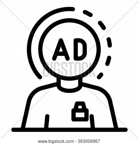 Marketing Expert And Ad Icon. Outline Marketing Expert And Ad Vector Icon For Web Design Isolated On