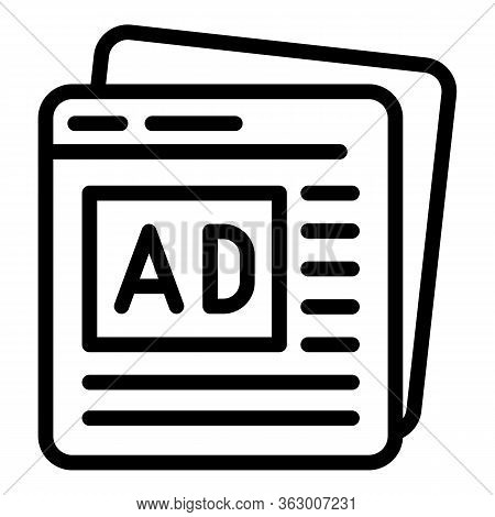 Advertisment Pages Icon. Outline Advertisment Pages Vector Icon For Web Design Isolated On White Bac