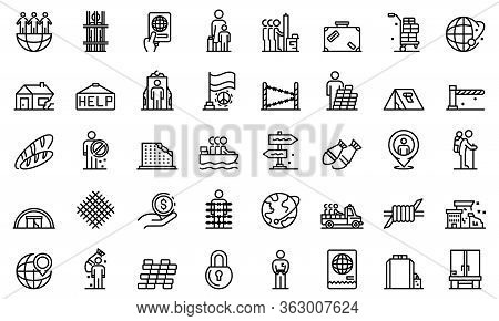Illegal Immigrants Icons Set. Outline Set Of Illegal Immigrants Vector Icons For Web Design Isolated