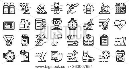 Running Icons Set. Outline Set Of Running Vector Icons For Web Design Isolated On White Background