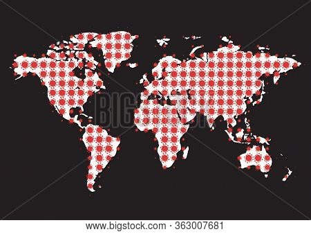 Abstract Cartoon Coronavirus Cells Halftone World Map. Vector Illustration. Dotted Shape Earth Map C