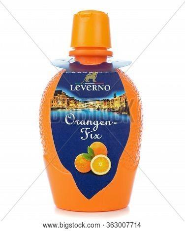 Niedersachsen, Germany April 23, 2020: A Bottle Of Leverno Orangen Fix Orange Juice Concentrate On A
