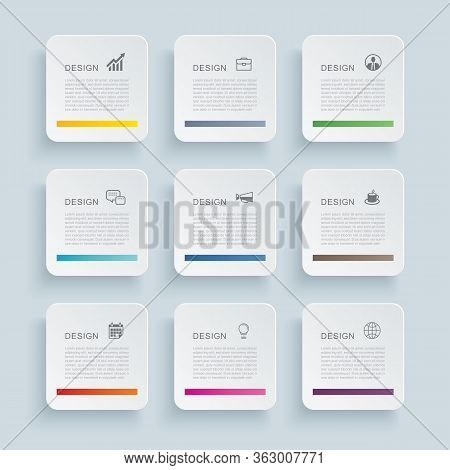 Infographics Rectangle Paper Index With 9 Data Template. Vector Illustration Abstract Background. Ca