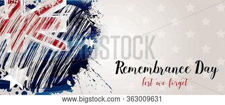 Anzac Day Background With Grunge Watercolor Australia Flag In Grunge Heart Shape. Remembrance Holida