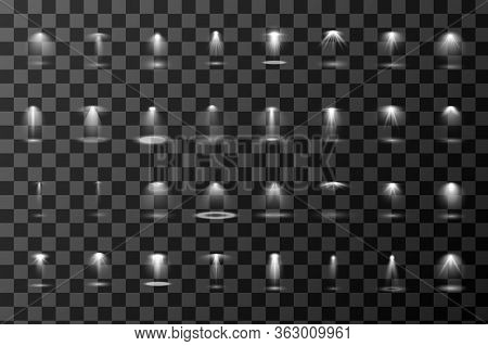 Set Of Vector Light Sources Isolated On Transparent Background. Spotlights Collection. Design Of Lig