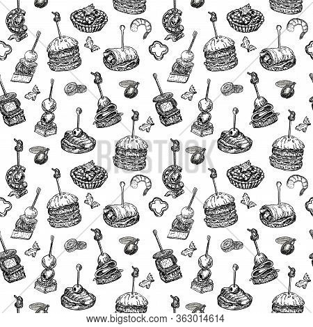 Seamless Pattern With Finger Food. Sketch Style Repeated Background. Sandwich, Canapes, Bruschetta A