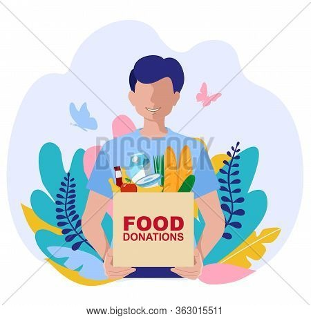 Young Volunteer With Food Donation Boxes. Vector Concept Illustrations. Food Donation Concept With C