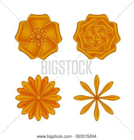 Collection Flowers Copper Ornate Isolated On White Background, Luxury Flower Petal Copper Set, Coppe