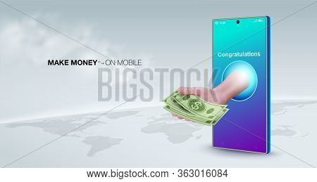 Make Money Online With A Smart Phone Business Concept. Sell ​​online, Transfer Money, Make Payments,