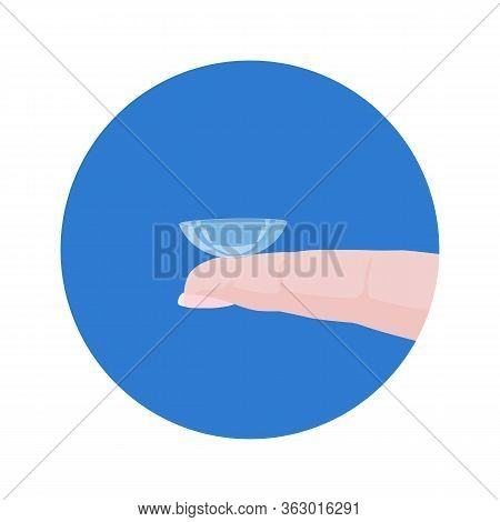 Contact Lens For Correcting Vision On The Finger. Vector Illustration